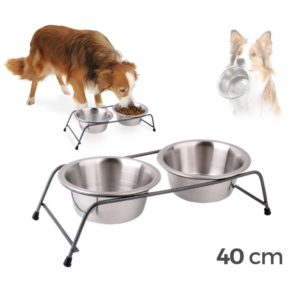 180593 Doppia ciotola per cani in acciaio con supporto rialzato 40 x 8,5 cm