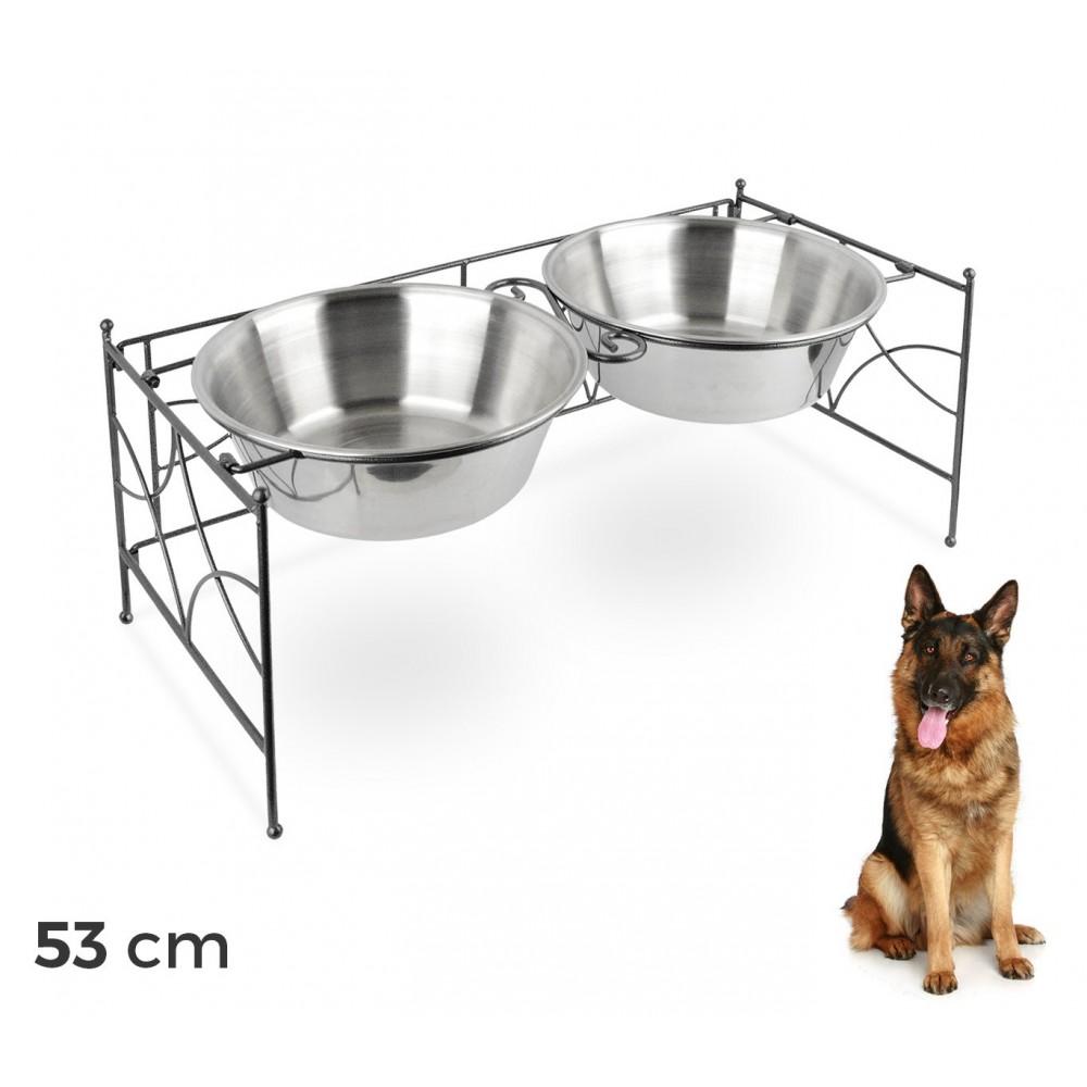 Doppia ciotola per cani in acciaio con supporto rialzato 53 x 22 cm