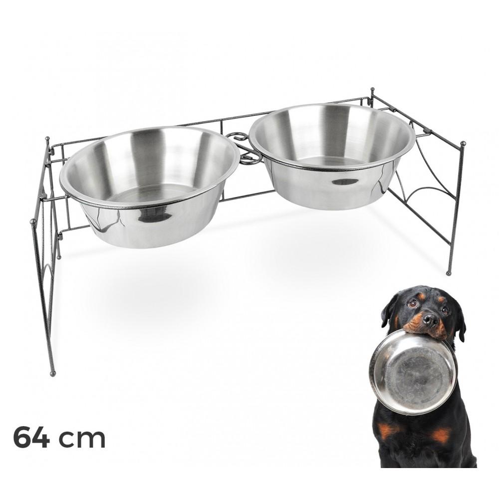 magasins d'usine Baskets 2018 design distinctif 133587 Doppia ciotola per cani in acciaio con supporto rialzato 64x26