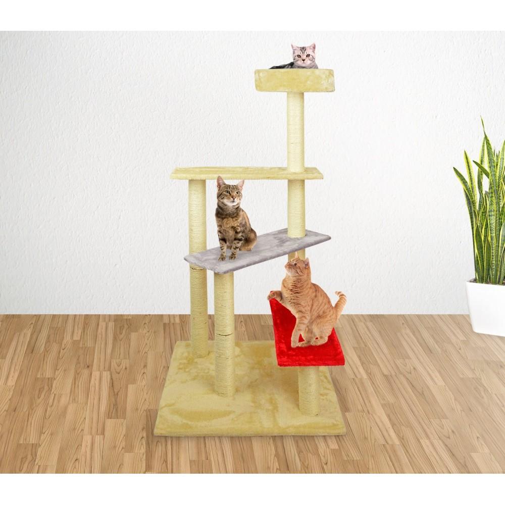 HK1036 Palestra tiragraffi per gatti a scala con colonne in sisal 144 cm