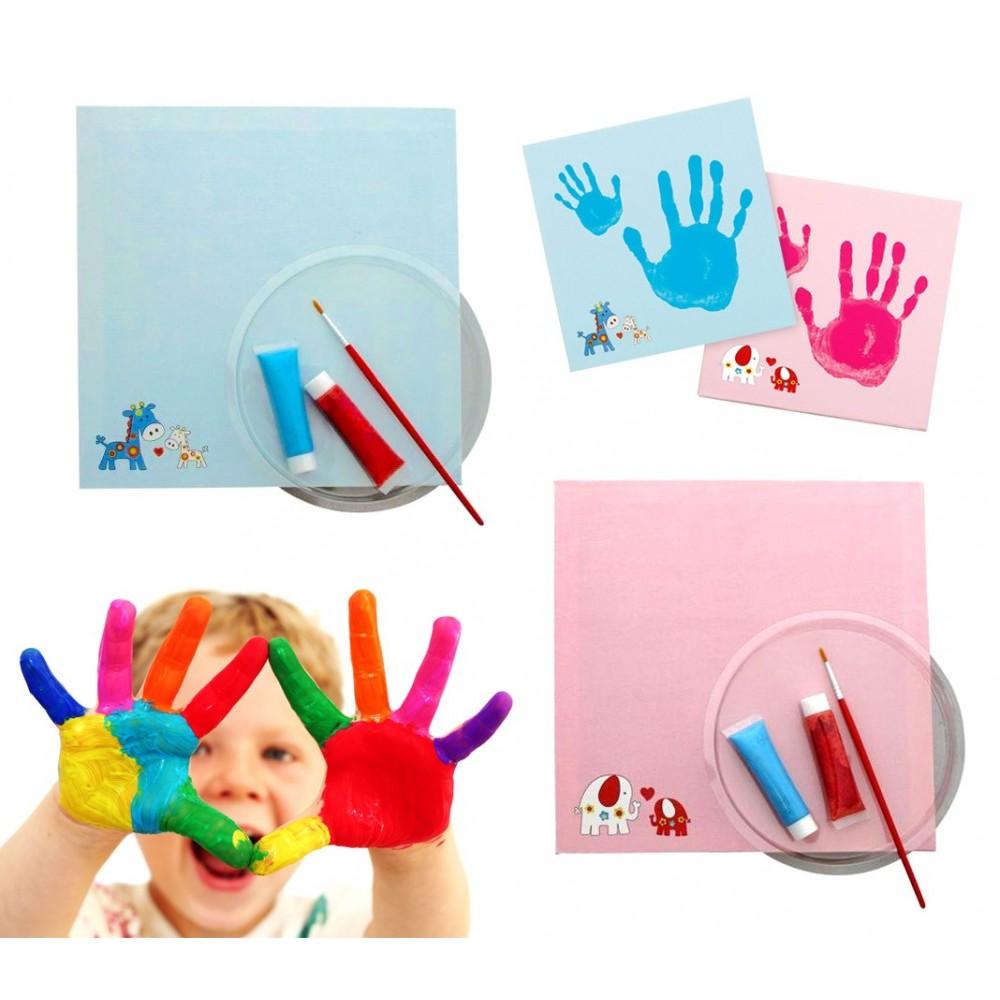 15951 Kit per impronta mani con tela in canvas per bambini 25 x 25 x 1,8 cm