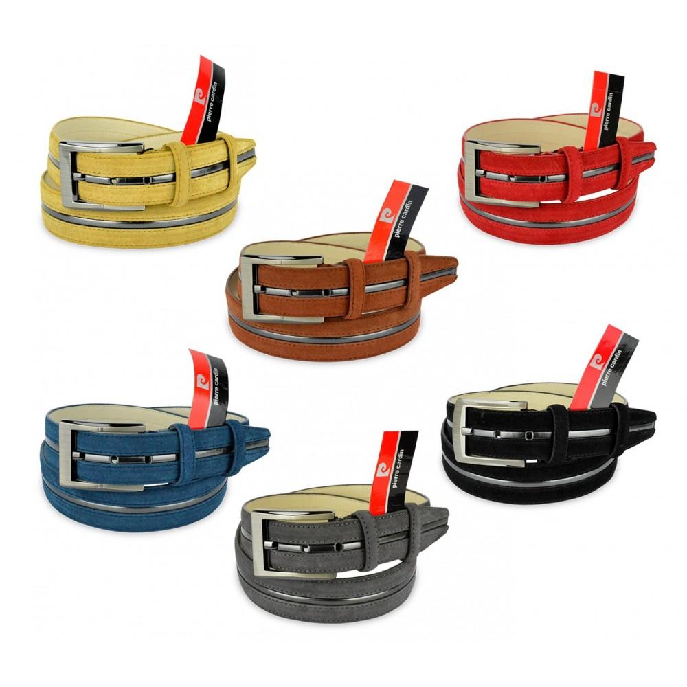 R003 Cintura regolabile uomo Pierre Cardin in pelle scamosciata