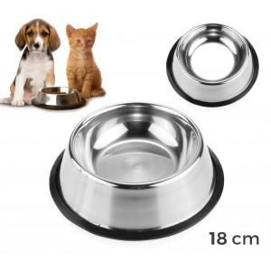 45000 Ciotola in acciaio per cani e gatti dotata di antiscivolo diametro 18 cm