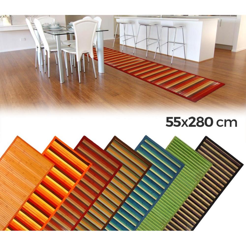 0380 Tappeto in bamboo naturale multicolor  55 x 280 cm  antiscivolo