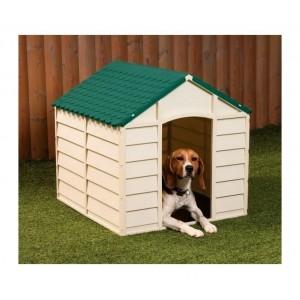 000167 Cuccia a forma di casetta in resina per cani 72 x 71.5 x 68cm Verde