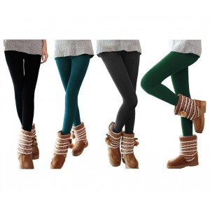 Set 5 leggings donna effetto termico interno felpato elasticizzato taglia unica