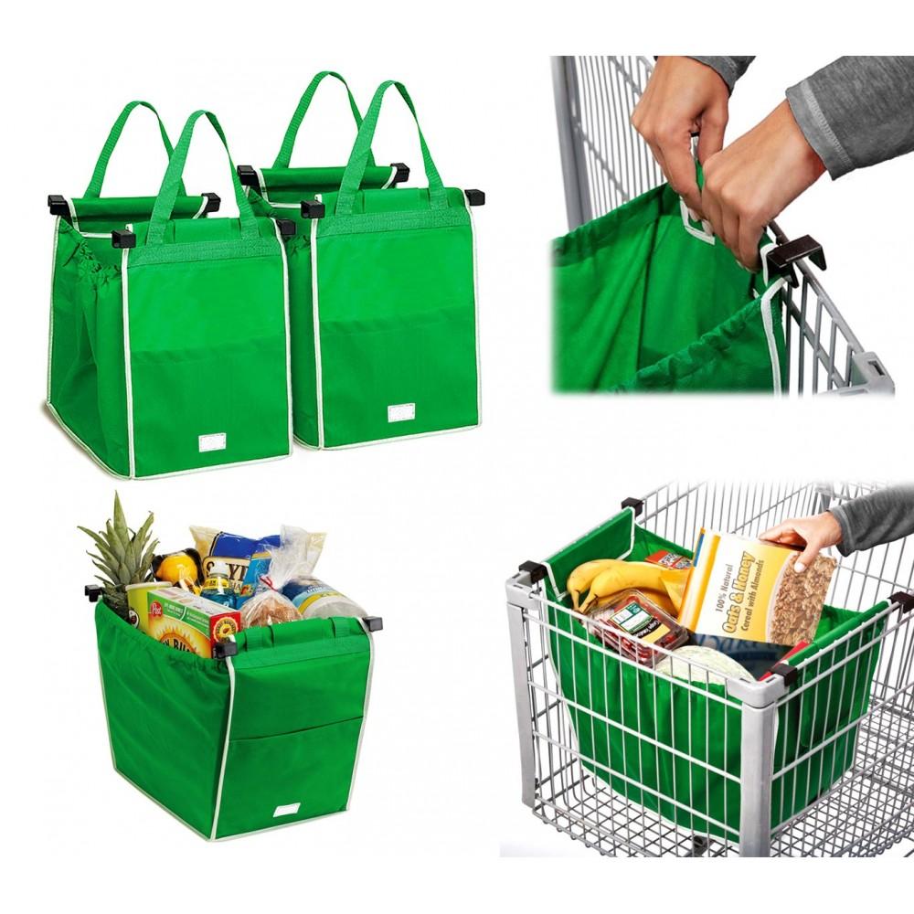 300162 Set 2 shopping bag da carrello riutilizzabili e richiudibili 34x24x30cm