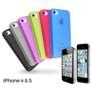 Set 6 cover per iphone 4/4S e 5/5S in plastica trasparente 3mm ultraslim