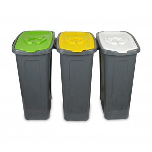 7981 Set 3 contenitori per differenziata carta/vetro/plastica 35LT