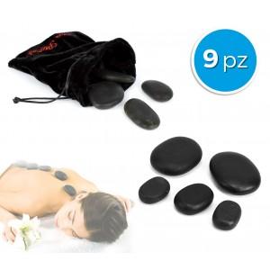 Image of 24/0022 Set di 9 pietre riscaldanti per massaggio con sacchetto in velluto 8014139802161