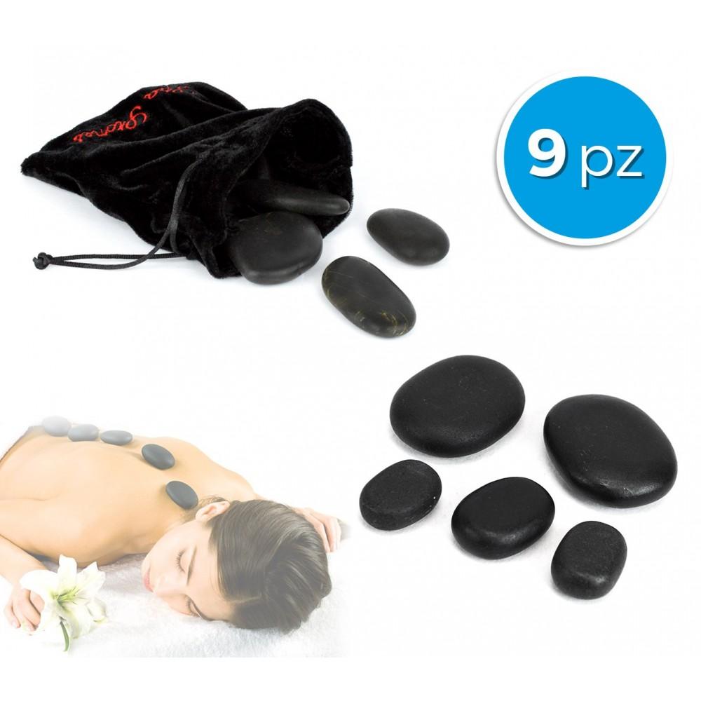 24/0022 Set di 9 pietre riscaldanti per massaggio con sacchetto in velluto