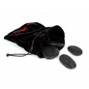 24-0022 Set di 9 pietre riscaldanti per massaggio con sacchetto in velluto