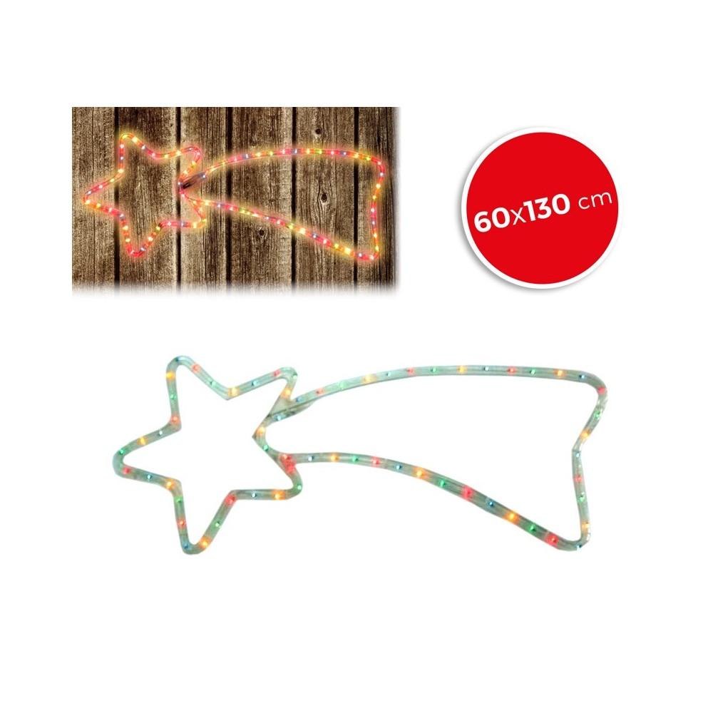 757235 Stella cadente natalizia luci MULTICOLORE telaio in metallo 130 X 60 cm