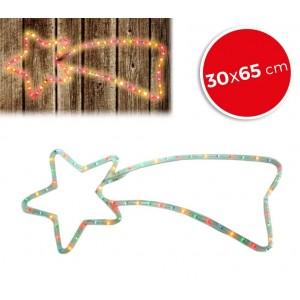 757198 Stella cadente natalizia con luci bianche con telaio in metallo