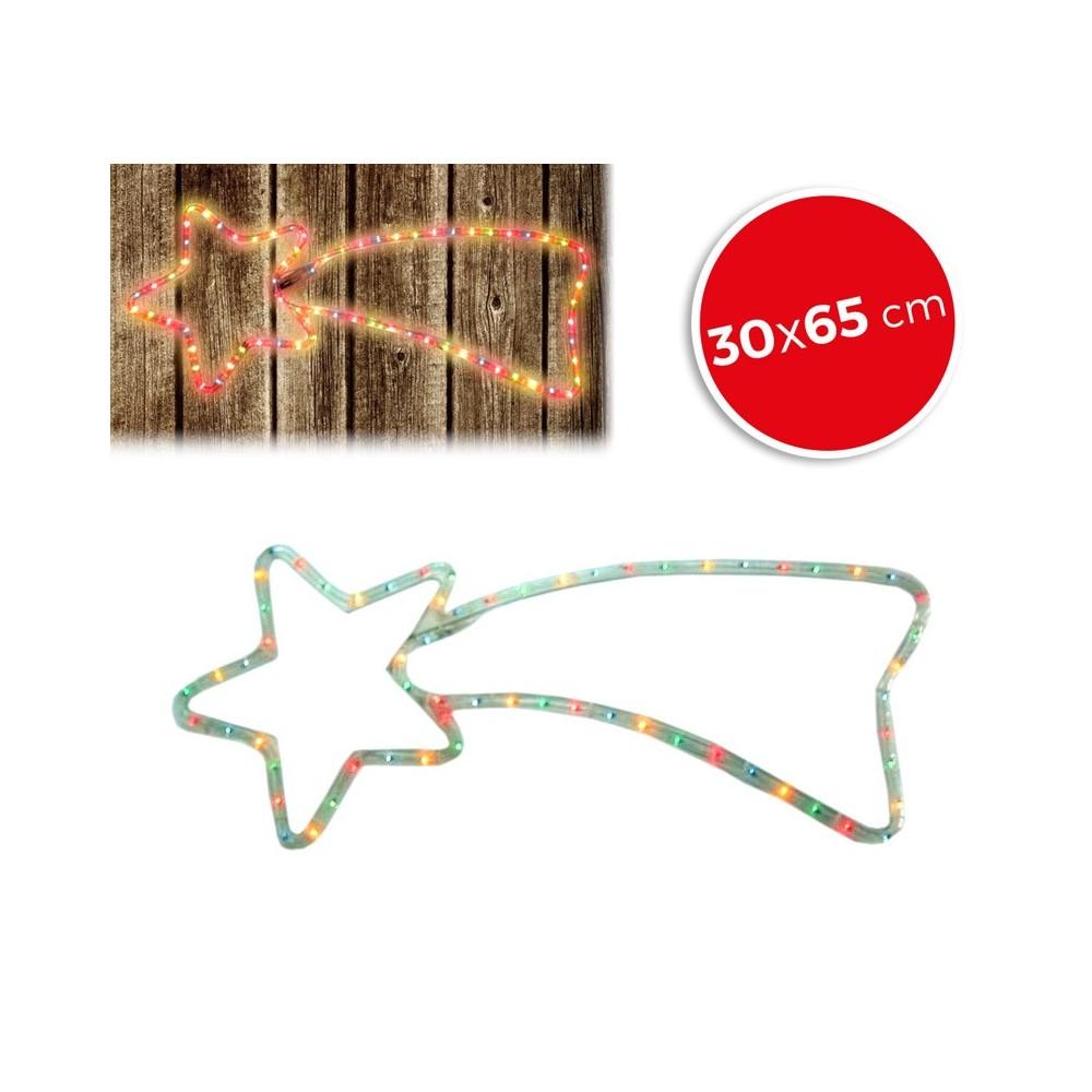 757198 Stella cadente natalizia luci MULTICOLORE telaio in metallo 65 x 30 cm