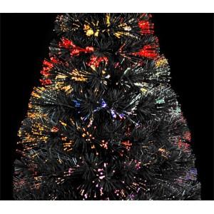 272332 Albero di Natale nero in fibra ottica1400punte luminose multicolor 120cm