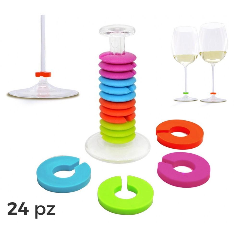 230794 Set 24 anelli segnabicchiere in silicone colorato ideali per feste party