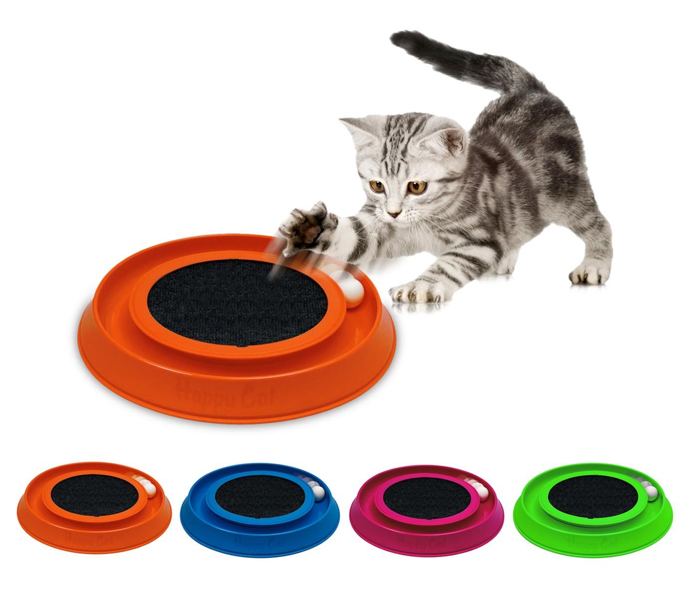 10596 Gioco interattivo con tira graffi per gatti HAPPY CAT made in Italy ø35cm