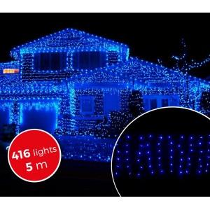 Image of 031410 Luci natalizie a tenda 416 luci BLU con giochi di luci da esterno 5mt 6923398595221