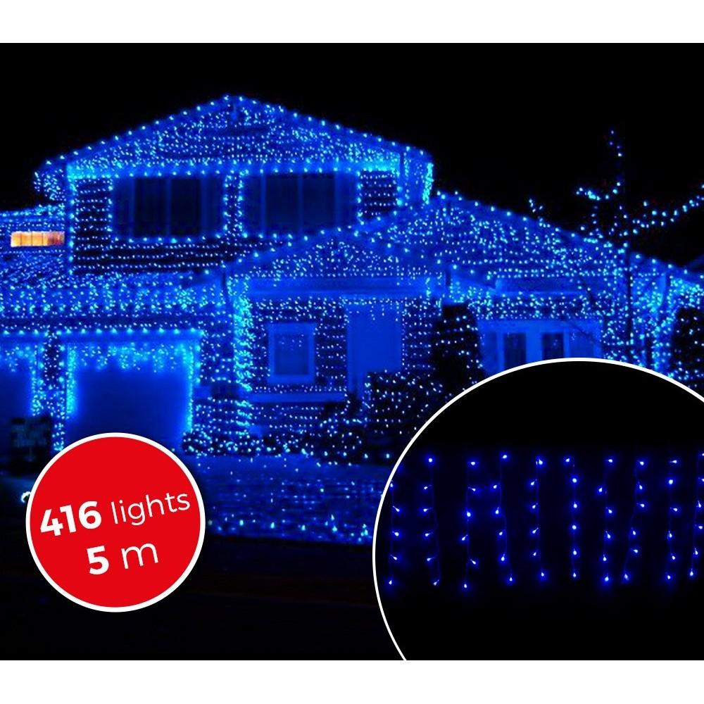 Luci natalizie a tenda da 416 luci blu con giochi di luci for Luci a led esterno