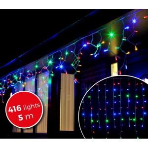 031434 Luci natalizie a tenda 416 luci multicolor con giochi di luci da esterno