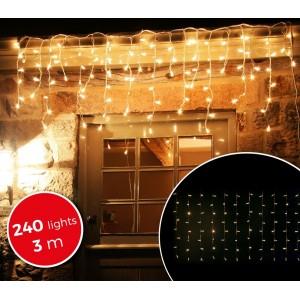 Image of 031342 Luci natalizie a tenda 240 luci BIANCHE con giochi di luci da esterno 3mt 6933000012565