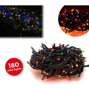 013492 Minilucciole natalizie MULTICOLORE 180 luci 8 giochi di luci cavo Verde