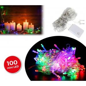 498831 Luci natalizie 100 luci led multicolore 8 giochi di luci cavo Trasparente