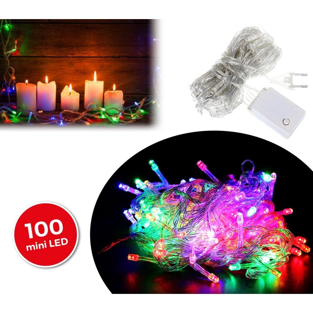 498831 Minilucciole natalizie 100 led multicolor cavo trasparente 6 metri