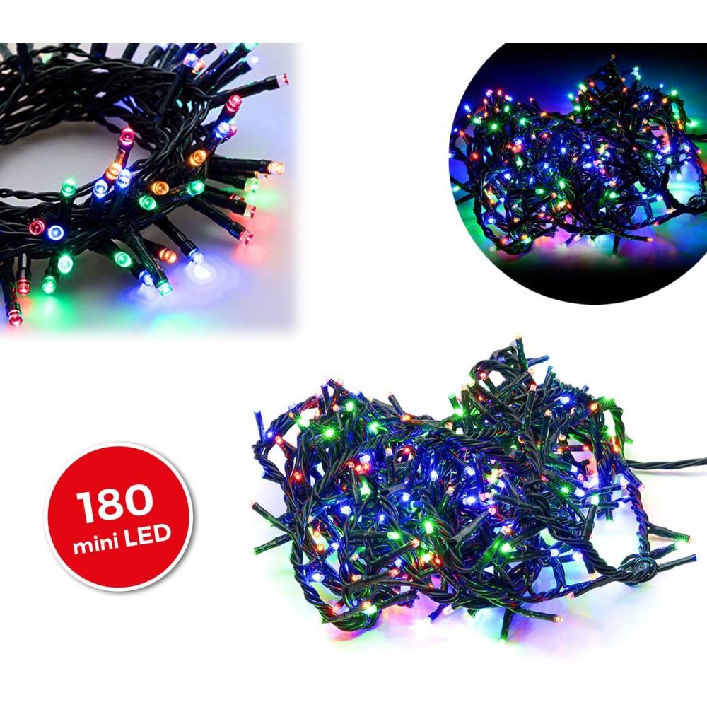 499111 Minilucciole natalizie multicolor 180 led 8 giochi di luci 9,16 metri
