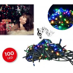 Image of 467080 Luci natalizie 100 led multicolor con effetto sonoro 8 melodie 6 metri 6941235689667