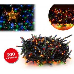 013591 Luci natalizie MULTICOLORE 300 luci 8 giochi di luci cavo Verde