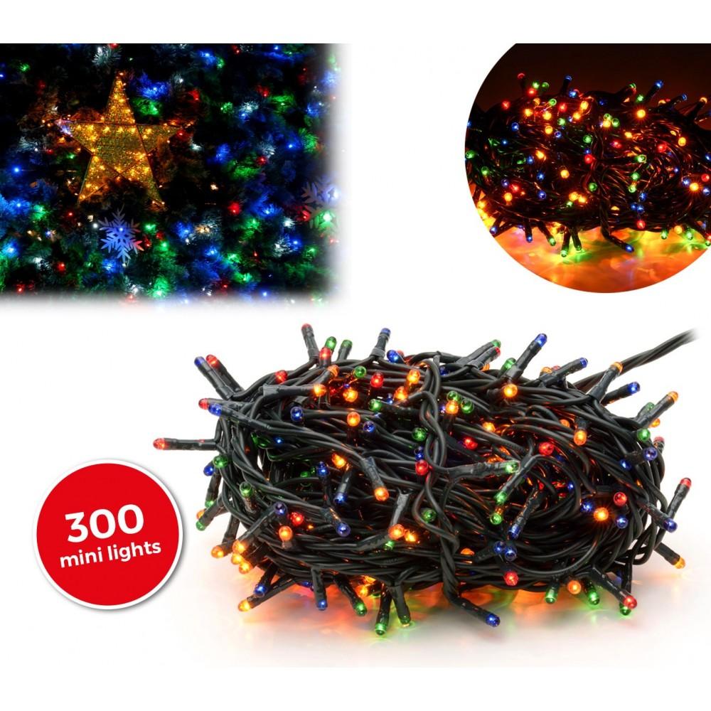 013591 Minilucciole natalizie multicolor 300 luci 8 giochi di luci 13,49 metri