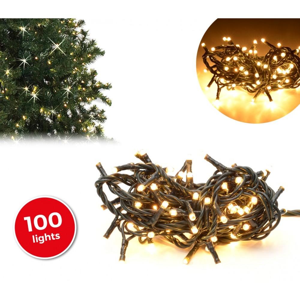 013430 Minilucciole natalizie 100 luci bianche 8 giochi di luci cavo Verde