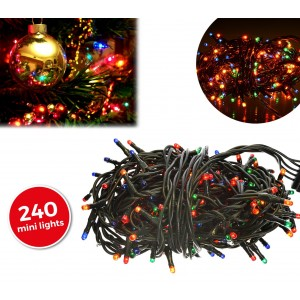 013546 Luci natalizie multicolore 240 luci 8 giochi di luci cavo Verde