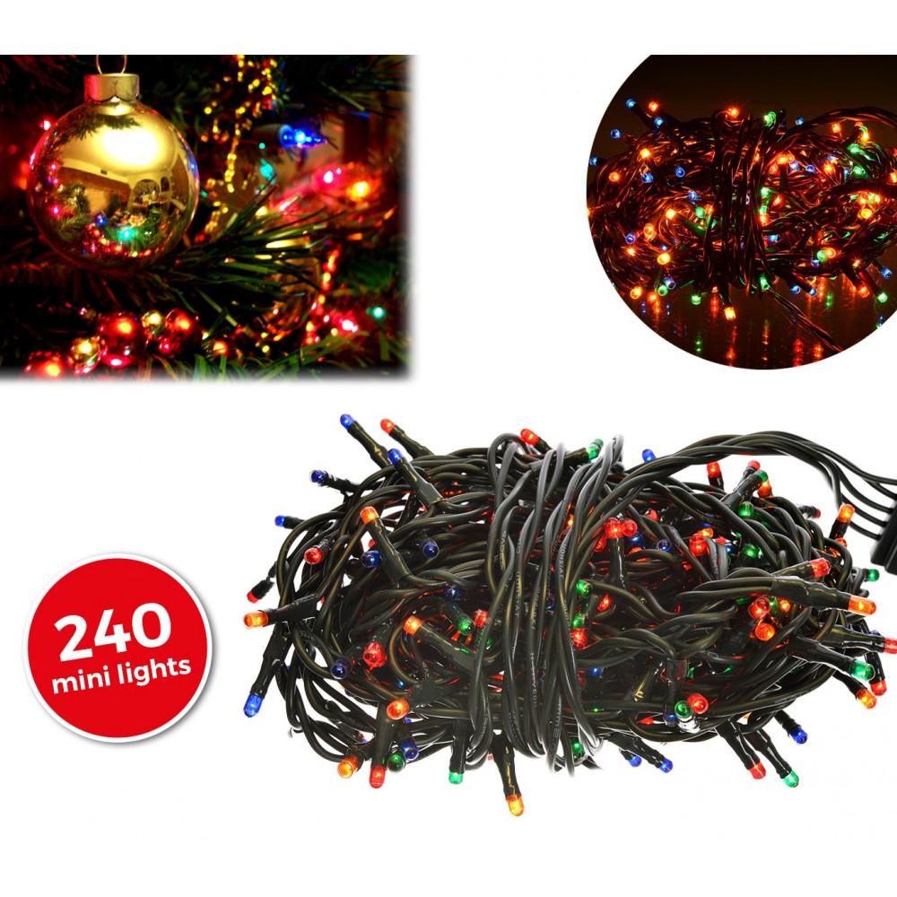 013546 Minilucciole natalizie multicolor 240 luci 8 giochi di luci 11,56 metri