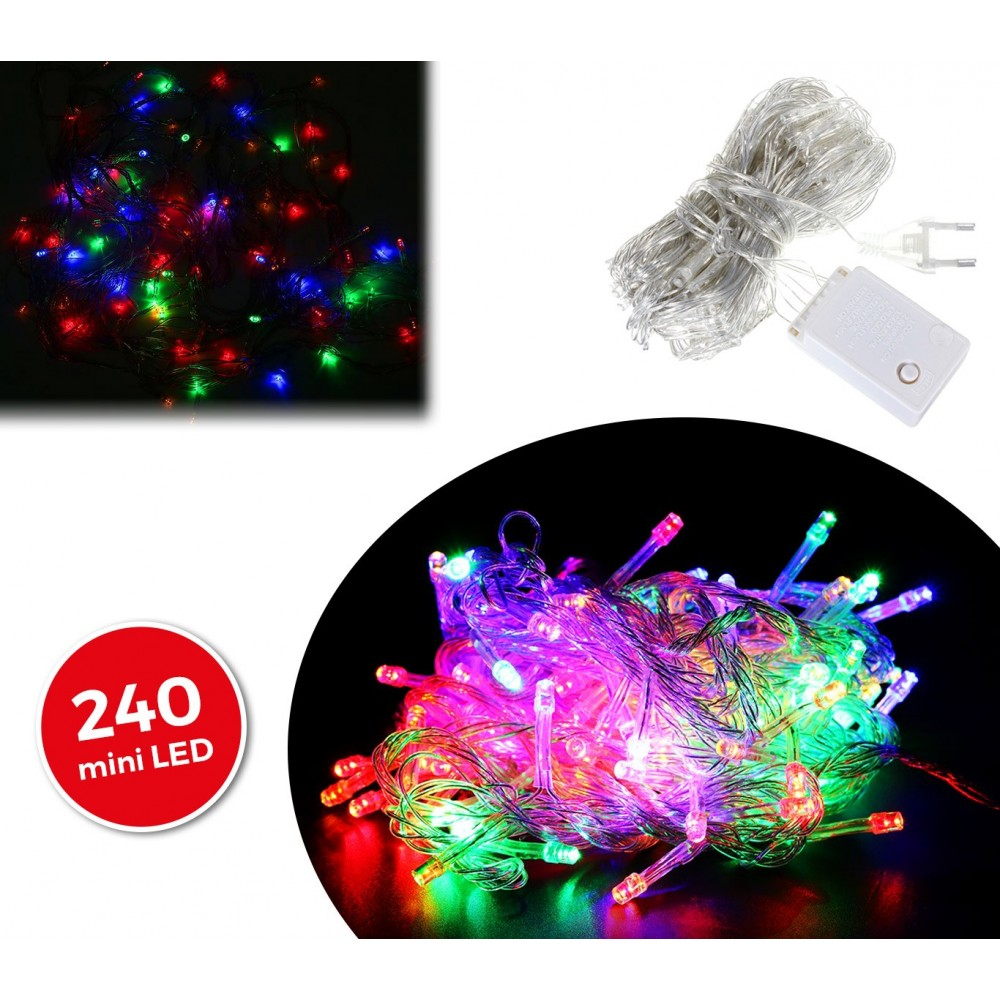 499678 Minilucciole natalizie 240 led multicolor cavo trasparente 11,56 metri