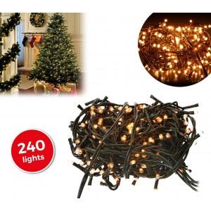 013539 Minilucciole natalizie 240 luci BIANCHE 8 giochi di luci cavo Verde
