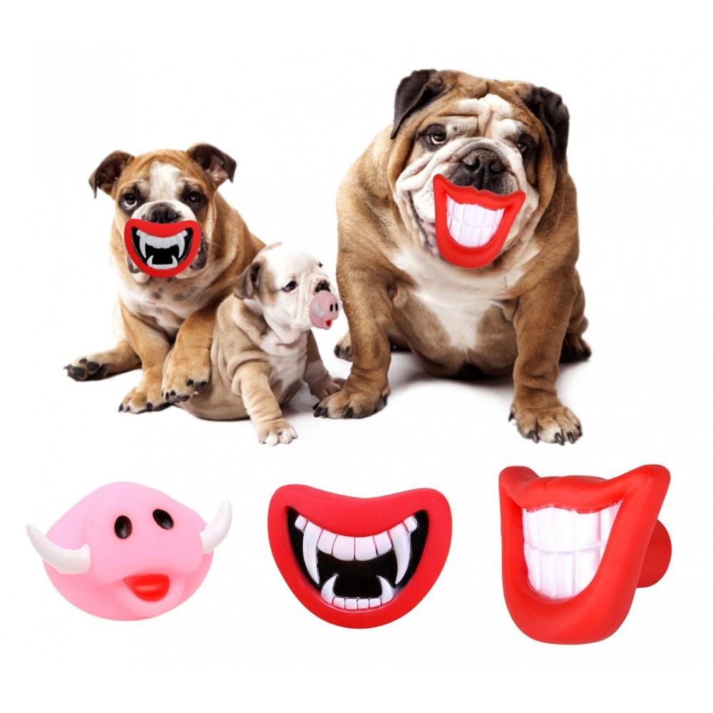 15968 Gioco da mordere per cani SMILE con suono in gomma naturale