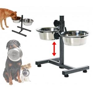 86483 Doppia ciotola in acciaio inox per cani con supporto regolabile in altezza