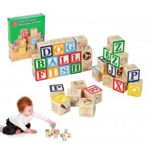 98304 Playset pedagogico in legno cubi con animali lettere e numeri 3x3cm