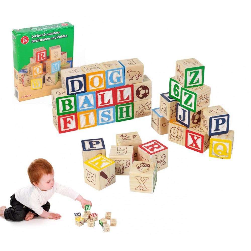 Playset pedagogico 30 pz in legno cubi 98304 con animali lettere e numeri 3x3 cm