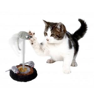 15971 Gioco per gatti base tiragraffi rivestita in peluche topini oscillanti