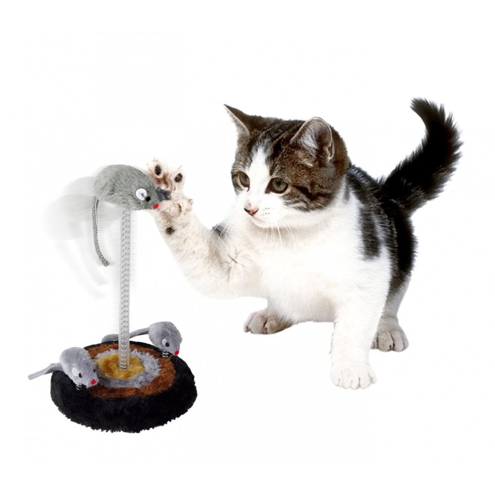 15971 Gioco per gatti base 14.5 x 26cm tiragraffi in peluche topini oscillanti