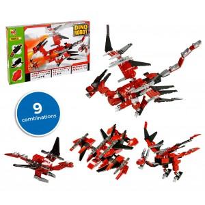 Image of 37793 Playset mattoncini DINO ROBOT 9 combinazioni rosso 198 pz da assemblare 6945523593339