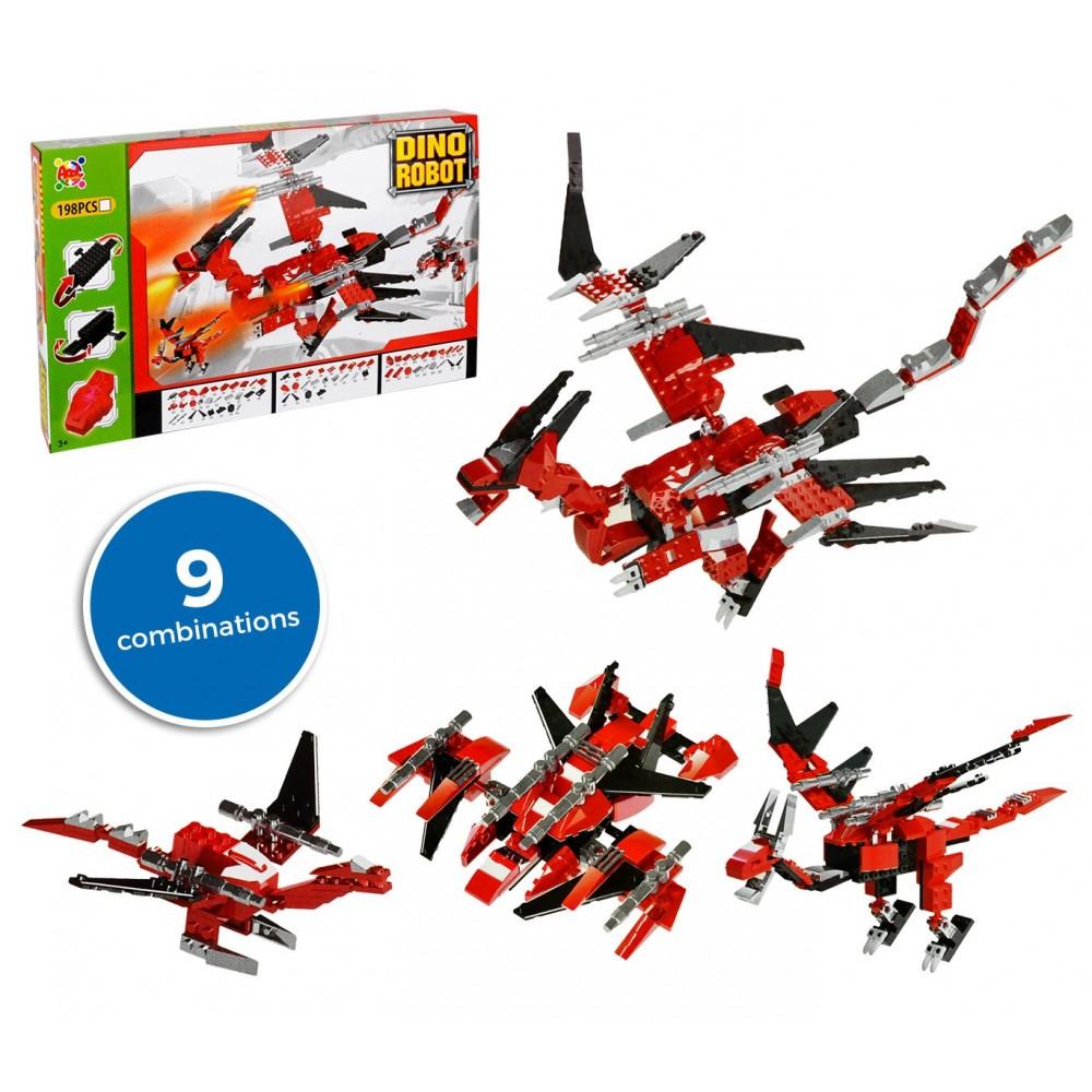 37793 Playset mattoncini DINO ROBOT 9 combinazioni rosso 198 pz da assemblare