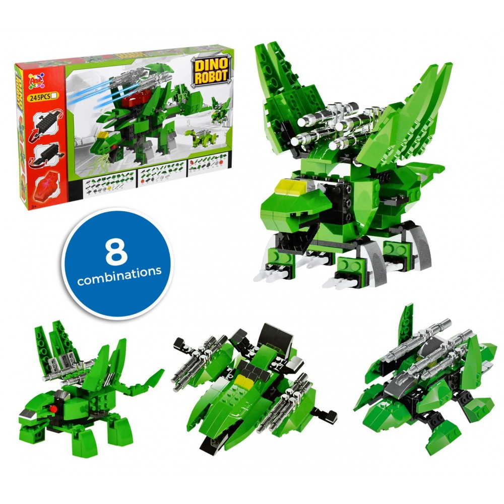 37793 Playset mattoncini DINO ROBOT 8 combinazioni  verde 245 pz da assemblare