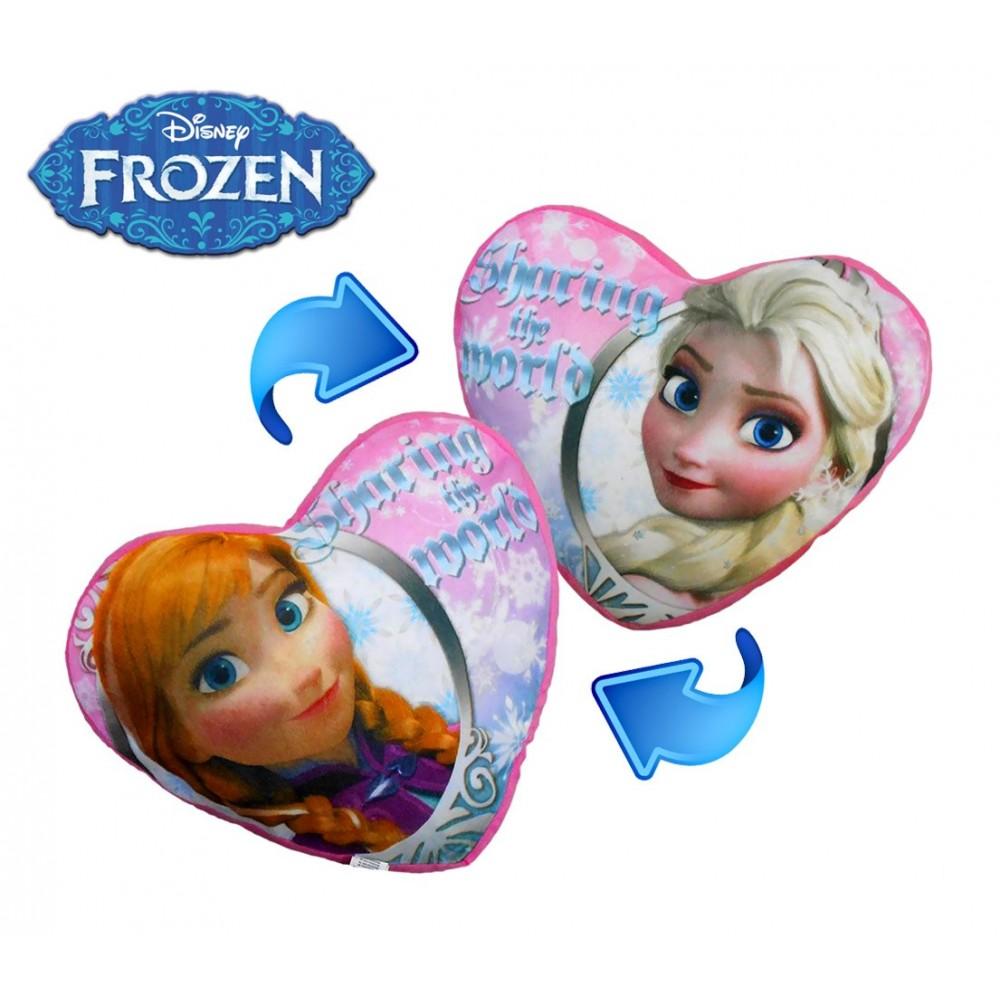 WD16526 Romantico cuscino cuore ANNA ED ELSA frozen bifrontale 45 x 40 cm