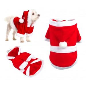 5775 Vestito da BABBO NATALE con cappuccio per cani di piccola e media taglia