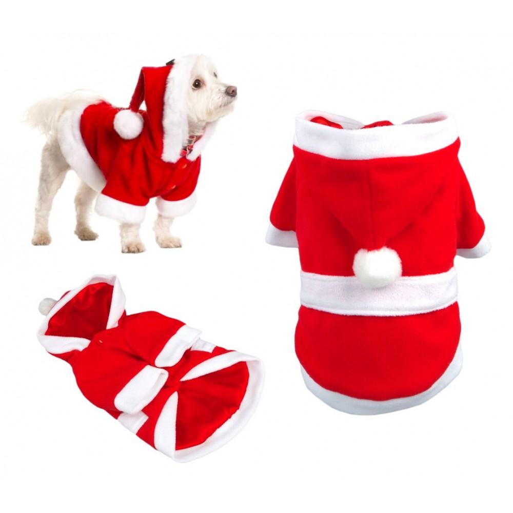 5679 Vestito da BABBO NATALE con cappuccio per cani di piccola e media taglia